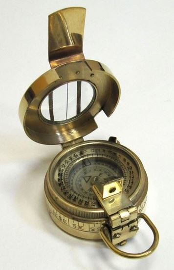 Brass Prismatic Compass With Leather Pouch