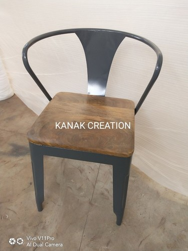 Tolix Chair With Wooden Set Top Red Manufacturer Tolix Chair With Wooden Set Top Red Supplier Exporter India