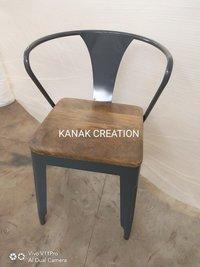 Tolix Arm Metal Restaurant Chairs Wood Seats  Outdoor Furniture