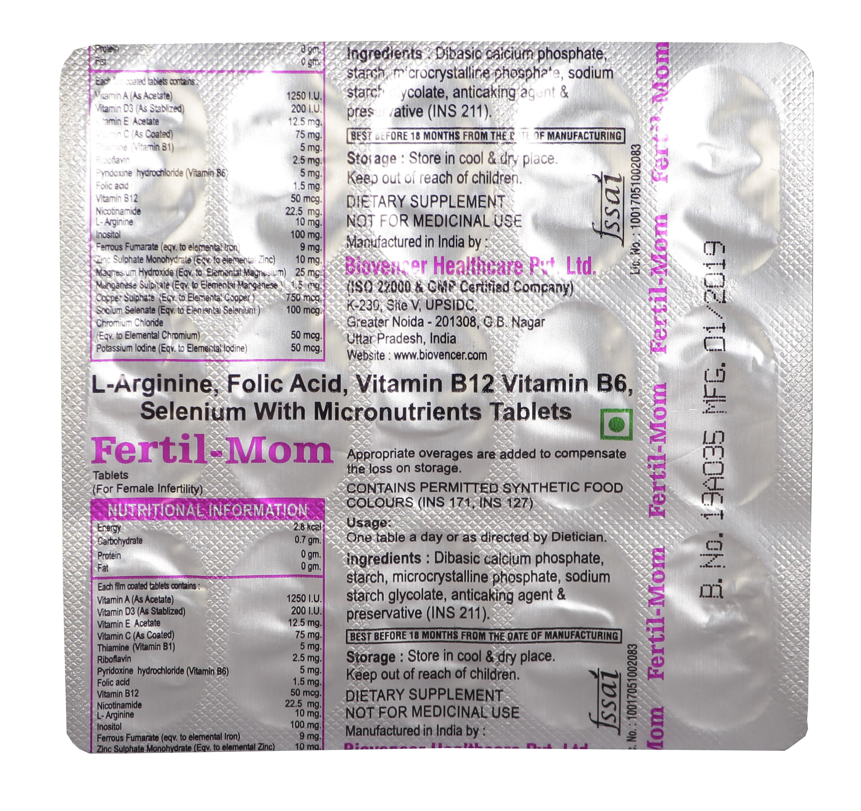 L-Arginine, Folic Acid, Vitamin B12, Vitamin B6, Selenium with Micronutrients tablets