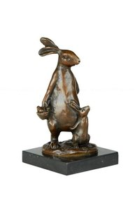 Animal Sculptures Bunny Rabbit Mom- Son Figurine Marble Base