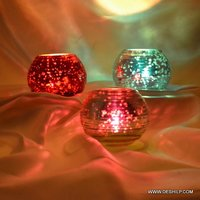 Silver Handmade Glass Candle Holder