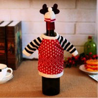 Smiry New Arrive Christma Cute Cartoon Elf Red Wine Bottle Holders Cover Bags Kids Gifts Bags Decoration Christmas Accessories