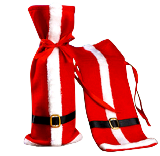 1pcs Christmas Red Wine Bottle Covers Santa Claus Clothes With Belts Cover for Bottles Xmas Festival Party Dinner Gift