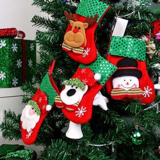 Smiry 4pcs/Set Cartoon Christmas Tree Santa Socks Hanging Ornaments Decoration Fairy tale Christmas Festival Decoration Crafts
