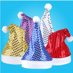 Smiry 1pc Five Colors Sequins Christmas Hat Adults Santa Claus Reindeer Snowman Cute Party Cap Club Christmas Gift Hat