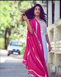White Kurti With Pink Dupatta