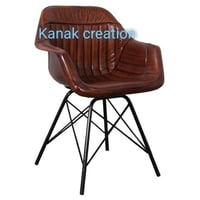 Industrial Tan Leather Dining Chairs