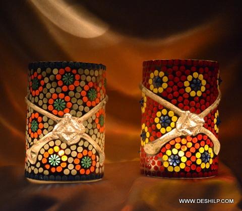 Two Color Mosaic Candle Votive
