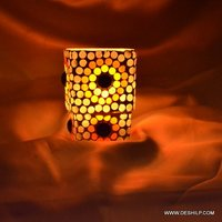 Orange Color Glass T Light Candle