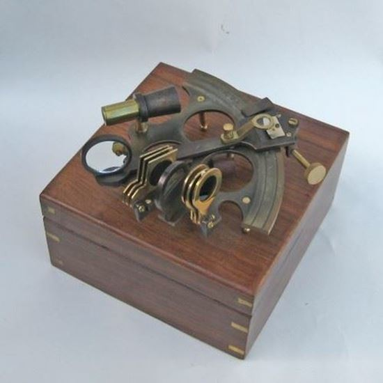 Aluminum Sextant Brass Inlay Antique Wooden Boxed