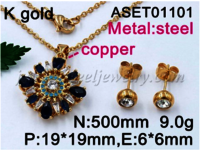 wholesale 2019 latest design stainless steel pendant necklace jewelry sets