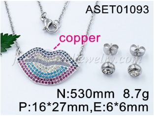 Wholesale Fashion Women  Lips Shape Micro Pave Zircons pendant necklace Jewelry