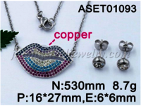 Wholesale Fashion Women  Lips Shape Micro Pave Zircons pendant necklace Jewelry