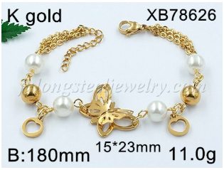 wholesale fashion heart 18K gold plated stainless steel bracelet bangle jewelry