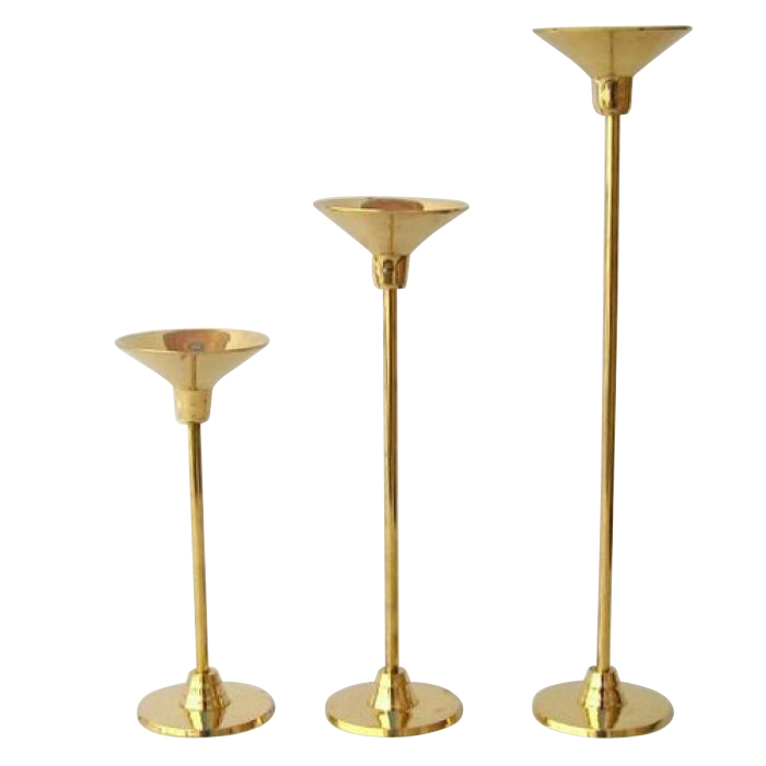 Brass Candle Stick Holder Set of Three