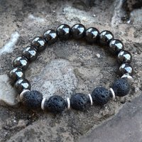 Hematite & Lava Stone 925 Sterling Silver Stretchable Bracelet