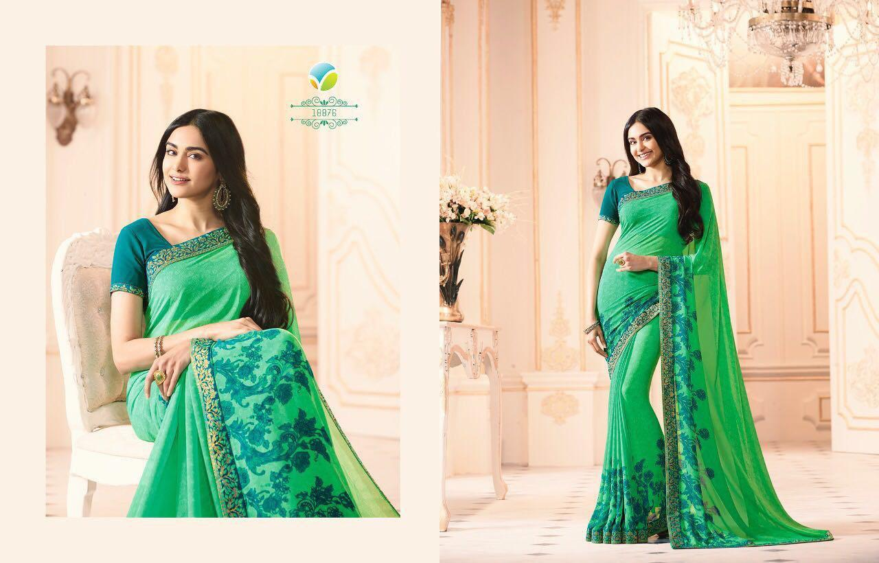 Printed Green Georgette Sarees