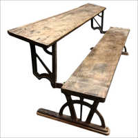 Cast Iron Industrial School Bench