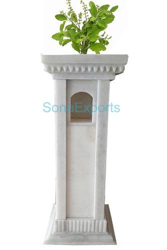 Marble Tulsi Planter Pot