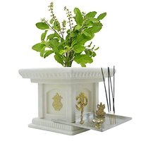 White marble stone  small Tulsi Pot