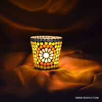 Very Small Mosaic Glass Candle Holder