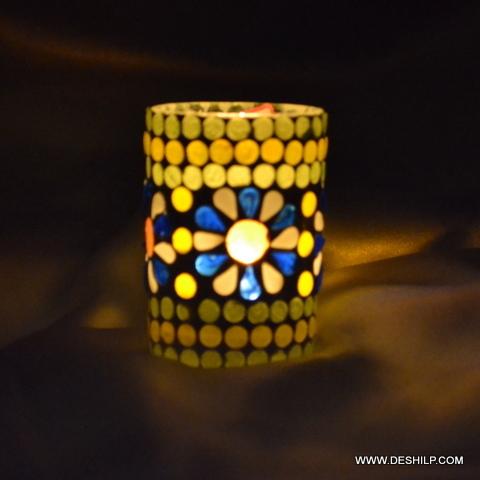 Mosaic Glass Candle Votive
