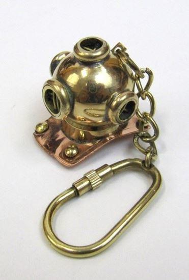 Solid Brass Nautical Keychain Diver Helmet