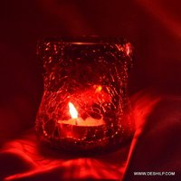 Red Glass Creak Candle Holder