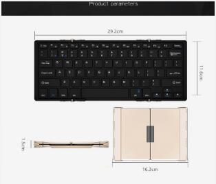 Triple-Fold Folding Bluetooth Keyboard Folding Bluetooth Keyboard Wired Bluetooth Dual Module Triple-Fold Full-Size Keyboard