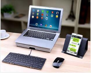 Triple-Fold Folding Bluetooth Keyboard Folding Bluetooth Keyboard Wired Bluetooth Dual Module Triple-Fold Full-Size Keyboard