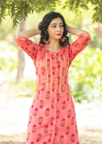 Designer embroidered rayon kurti with palazzo