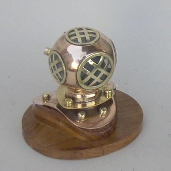 Copper Brass Divers Helmet With Wooden Base
