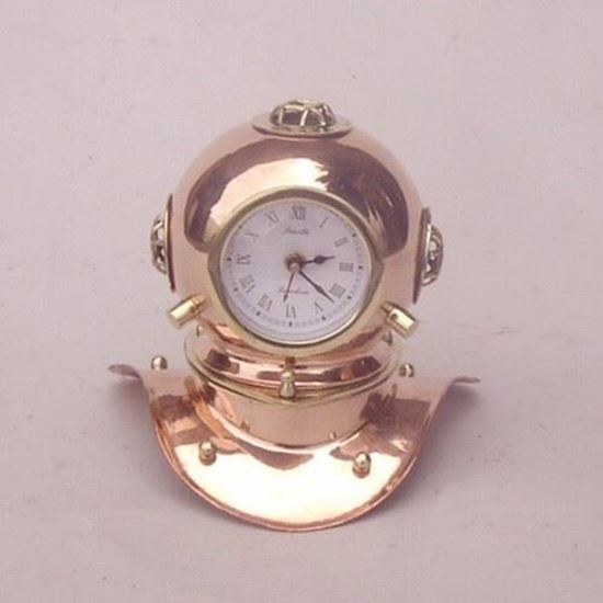 Divers Helmet Clock Brass With Copper Finish