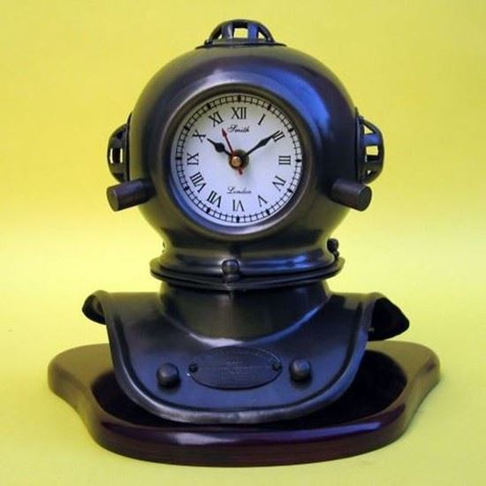 Iron Divers Helmet Clock With Wooden Base