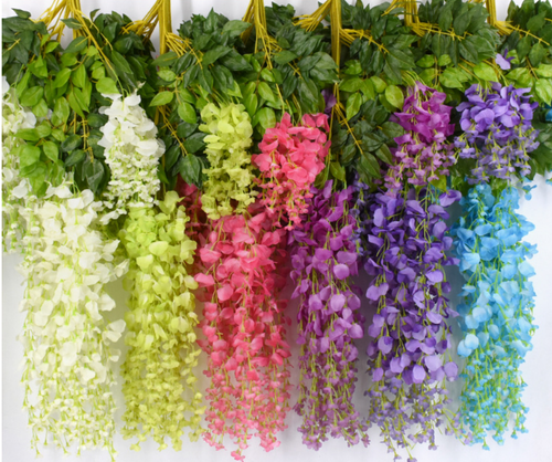 Silk hand made 12pcs rattan  Artificial flower for floral Decoration with  wisteria flower