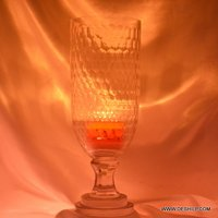CUTTING GLASS HURRICANE CANDLE HOLDER