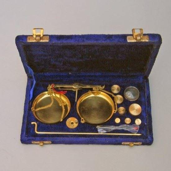 Solid Brass Scale Set in Velvet Box