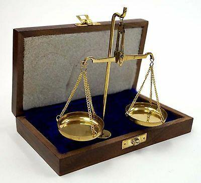 "Solid Brass Scale Set in Velvet Box ""100"" (10g)"
