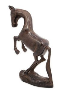 Rearing Horse Statue in Black Aluminum with Antiqued Bronze
