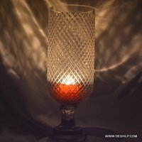 Heavy Cutting Glass Hurricane Candle