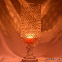 Heavy Cutting Glass Hurricane Candle