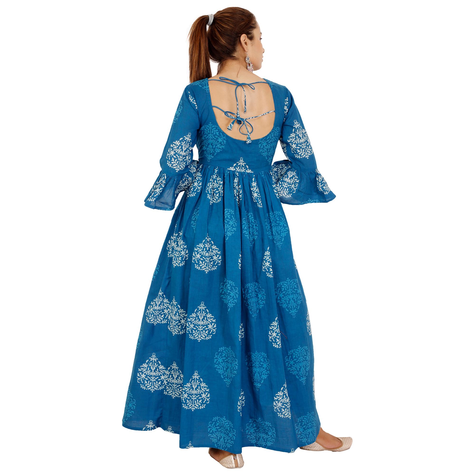 Cotton Designer Flower Print Backless Dress With Firll