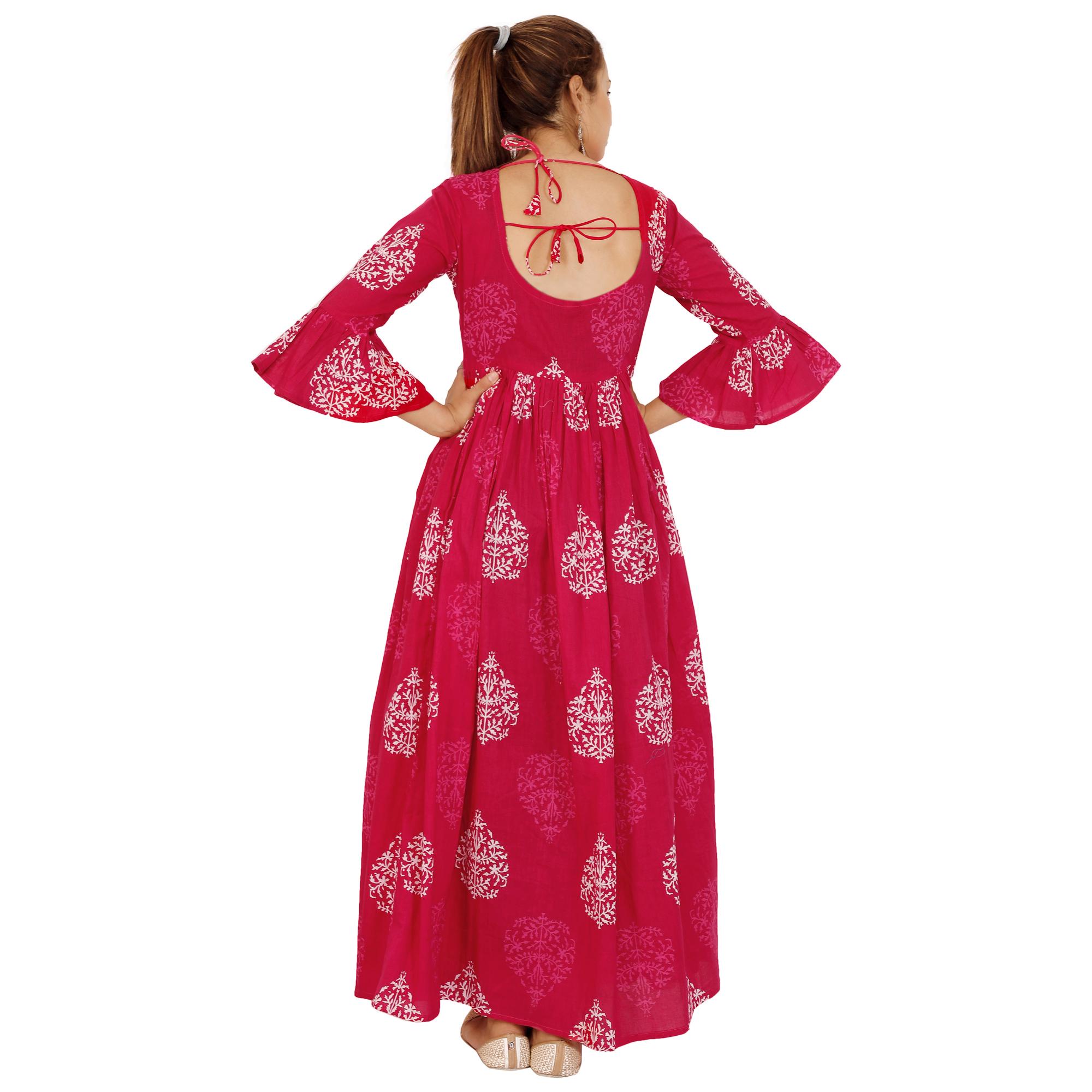 Designer Flower Print Backless Dress