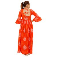 Ladies Cotton Designer Flower Print Backless Dress With Firll