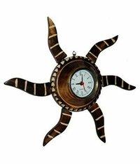 Antique Brown Wooden Handicraft Circular Analog Wall Clock