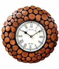 Vintage Wooden Handicraft Circular Analog Wall Clock