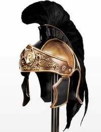 Antique Medieval Roman Armor King Helmet With Black Plume