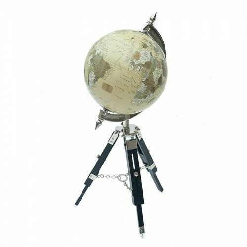 Antique World Map White Ocean Earth Rotating Globe wooden with stand