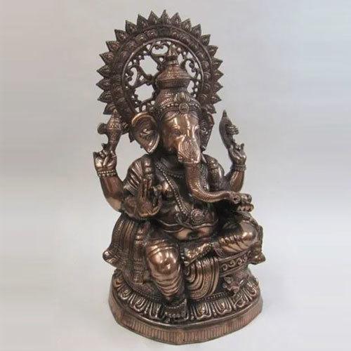 Aluminum Statue Ganesha Copper Finish